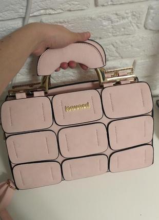Стильная сумка-саквояж нежно-розовая на длинной ручке