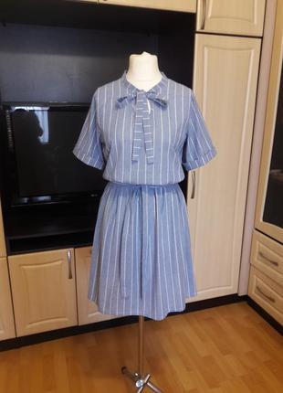 Льняное платье платье из льна в полоску