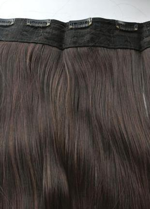 11-20 волосы трессы темно-коричневый №2/33 затылочная прядь на заколках длина 58 см
