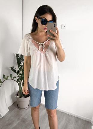Натуральная блуза с вышивкой h&m