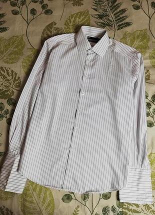 Фирменная шикарная рубашка в полоску marks & spencer 100% коттон