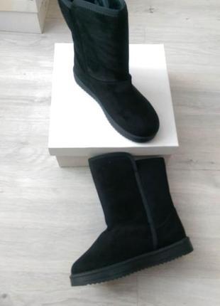 Черные зимние женские угги +подарок