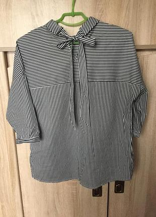 Летняя асимметричная рубашка в полоску goldi
