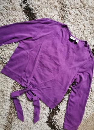 Фиолетовый кардиган болеро накидка хлопок