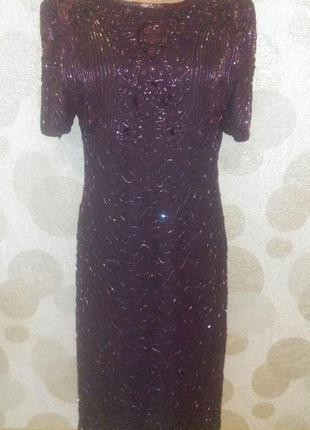 Шикарное вечернее платье вышитое бисером в стиле гэтсби