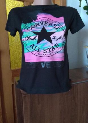 Черная маленькая футболка converse #размер xs-s