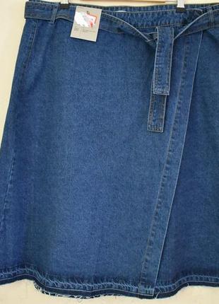Новая стильная джинсовая юбка на запах большого размера