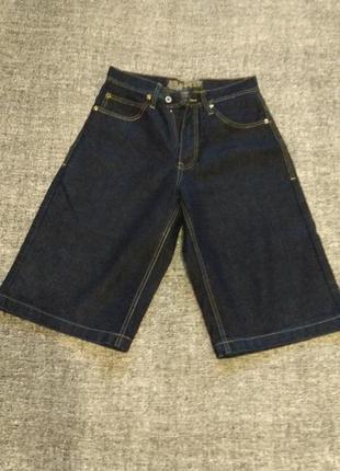 Синие плотные удлиненные шорты-капри с высокой посадкой#размер 30/l