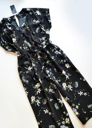 Летнее платье с кюлотами в принт цветы