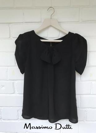 Черная нарядная блуза с коротким рукавом от massimo dutti размер м/10/38.