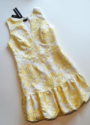 Премиальное желтое платье в принт цветы debenhams