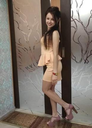 Летнее платье плаття сукня персиковое мини недорого баска
