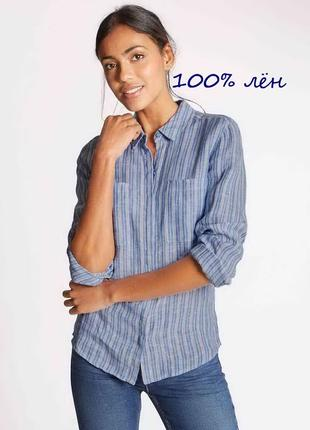 Льняная рубашка в полоску marks&spencer.