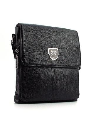 Черная маленькая сумка мужская кожаная через плечо