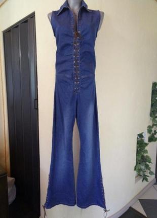 《хиповый》джинсовый комбинезон с кожаной шнуровкой