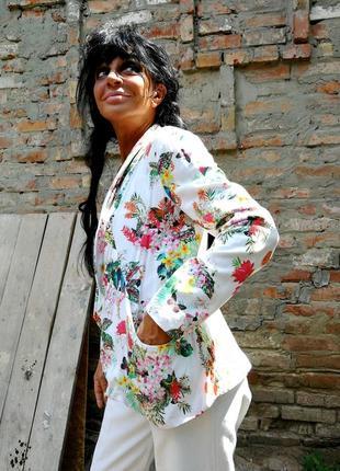 Летний пиджак жакет блейзер в принт цветы из вискозы