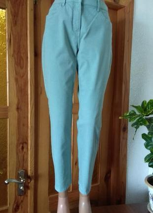 Пастельно-мятные укороченные джинсы с высокой посадкой#размер l-12