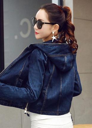 Куртка/жакет/джинсовая с капюшоном