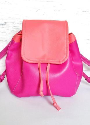 Ярко-розовый мини рюкзак ручной работы