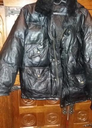 Куртка кожаный пуховик не alpha ind.