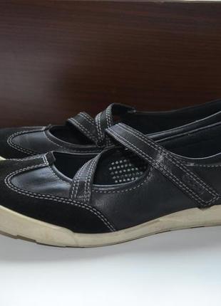 Ecco 38р туфли балетки кожаные. оригинал.