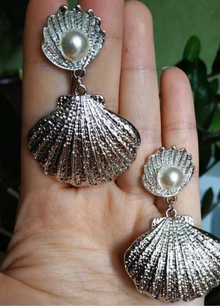 Серьги серебро ракушка сережки лето тренд