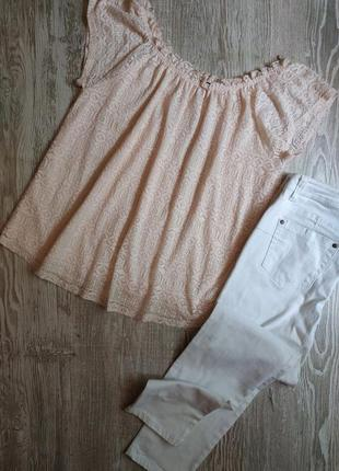 Пудровая кружевная блузка f&f размер 18