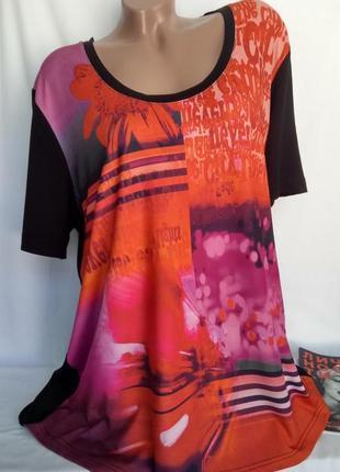 Комбинированная футболка , основа черная - принт спереди р. 20-22/5xl , от ulla popken