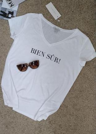 Amisu новая футболка белого цвета принт надпись