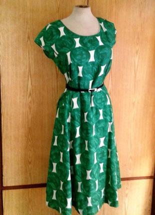 Льняное платье в зеленые круги,l.