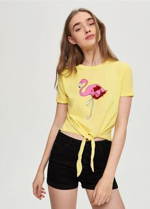 Женская футболка с фламинго sinsay 1025