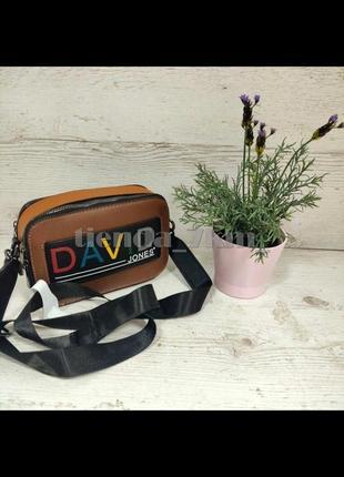 Крутой клатч david jones с широким ремнем 6138-1 коричневый/рыжый
