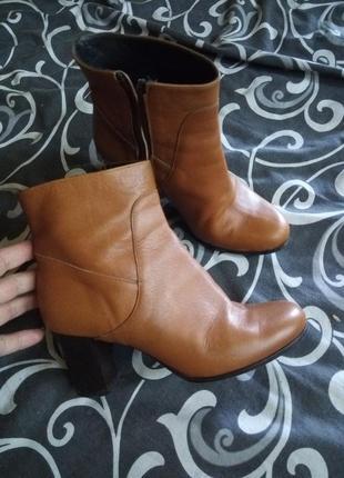Итальянские кожаные сапоги ботинки на устойчивом каблуке