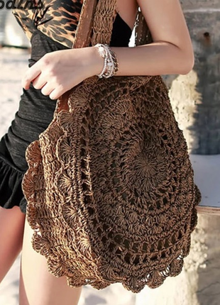 Пляжная плетённая соломенная сумка
