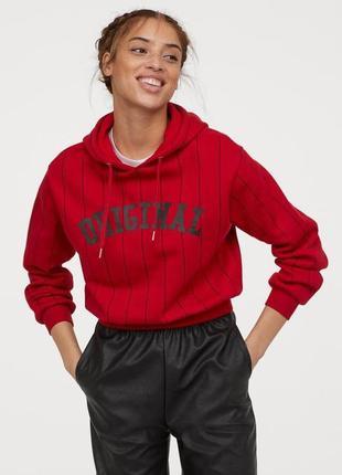 Свитшот h&m худи женский красный чёрный с капюшоном на флисе кофта