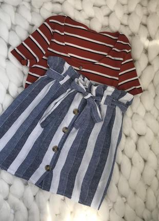 Zara primark льняная юбка с пуговицами поясом высокой посадкой талией в полоску