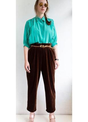 Бархатные брюки шоколадного цвета
