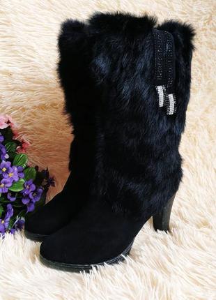 Натуральные зимние замшевые сапожки с натуральным мехом 39 (25,5 см)