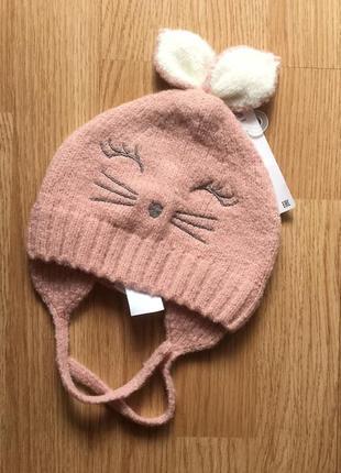 Красивая вязаная шапочка для девочки zara, р.12-24 м, 47-49