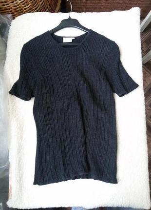 Кашемировый свитер в рубчик короткий рукав new scene 100% кашемир