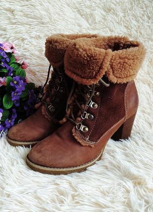 Зимние ботинки thomas munz из нубука, с замшевыми вставками 39 (25 см)