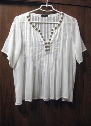 Блуза h&m белая полупрозрачная с бисером разлетайка свободная с коротким рукавом
