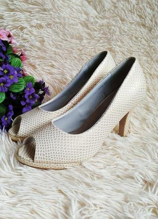 ♠️ текстурные туфли с открытым носком 39 (25 см) ♠️