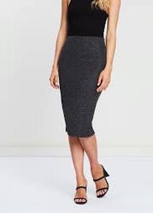 Стрейчевая нарядная юбка-карандаш с люрексом на резинке 20/54-56 размера