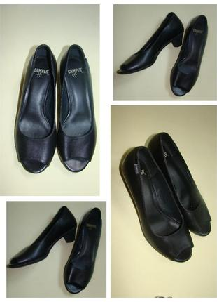 Кожаные летние туфли с открытым носком camper 24 см