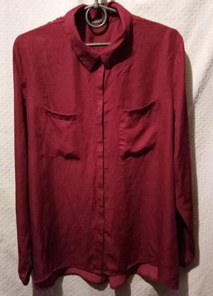 Рубашка женская оверсайз бордовая