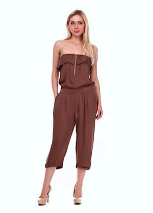 Летний легкий комбинезон ромпер коричневый с карманами m-l