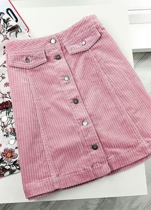 Плотная вельветовая юбка на пуговицах в134824 h&m размер uk10/36 (s) пудровая розовая