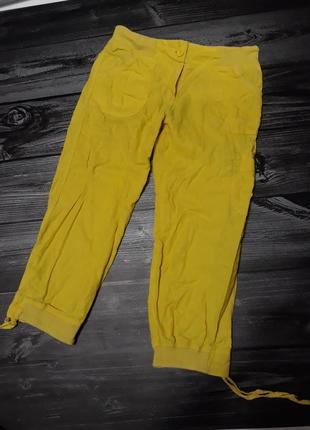 Яркие бриджи на резинке с карманами, лён
