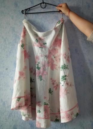 Льняная юбка в принт размер uk 20-22